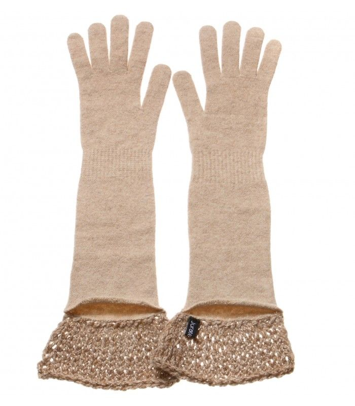 Camel Long gloves with Cashmere decoration packaged in Signature box