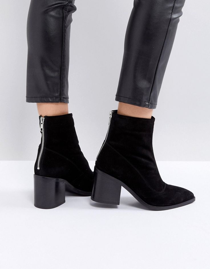 ASOS ROXANNA Suede Mid Ankle Boots - Black