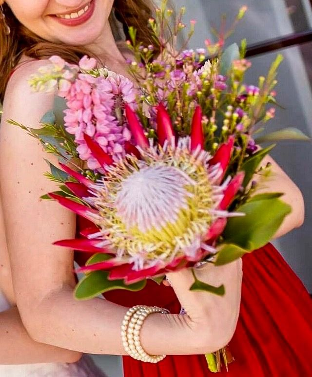 Protea king and wild flowers bouquet by Atelier Floristic Aleksandra concept Alexandra Crisan
