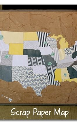 make a big map out of paper to show where your family has been - - this is so fun!! - - Scrap Paper Map {we were here} ~ Sugar Bee Crafts
