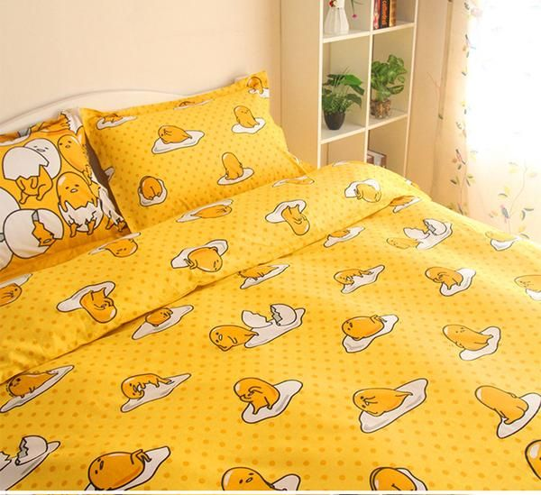 Gudetama Bedding Sets Lazy Egg Flat Sheet Quilt Cover Pillowcase Comforter Set