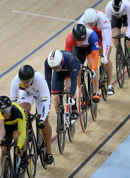 Jason Kenny of Great Britain during the Men's Keirin Finals race on Day 11 of…