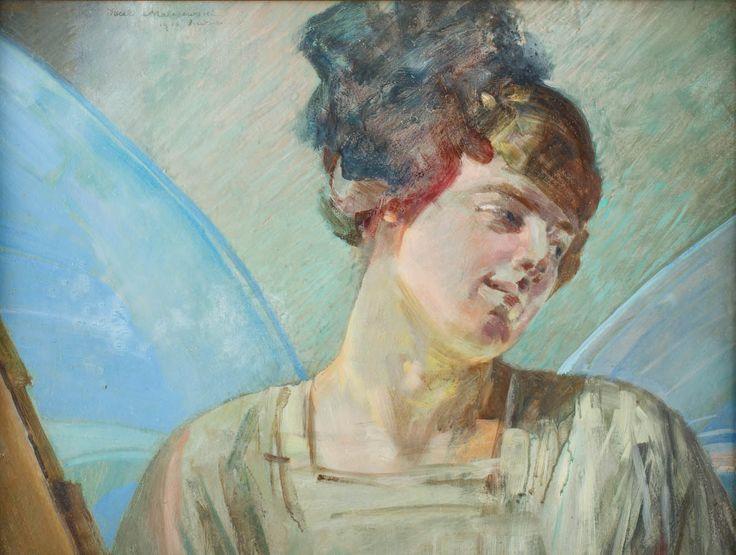 JACEK MALCZEWSKI (1854 - 1929)  ANIOŁ, 1913   olej, tektura / 43 x 58 cm