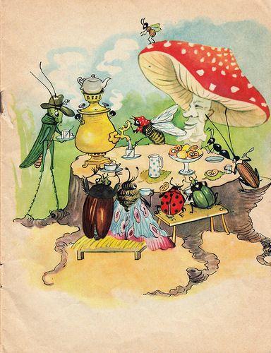 """booklerium: Чуковский К. Муха-Цокотуха. 1967. из-во """"Веселка"""". худ. Ипатьева."""