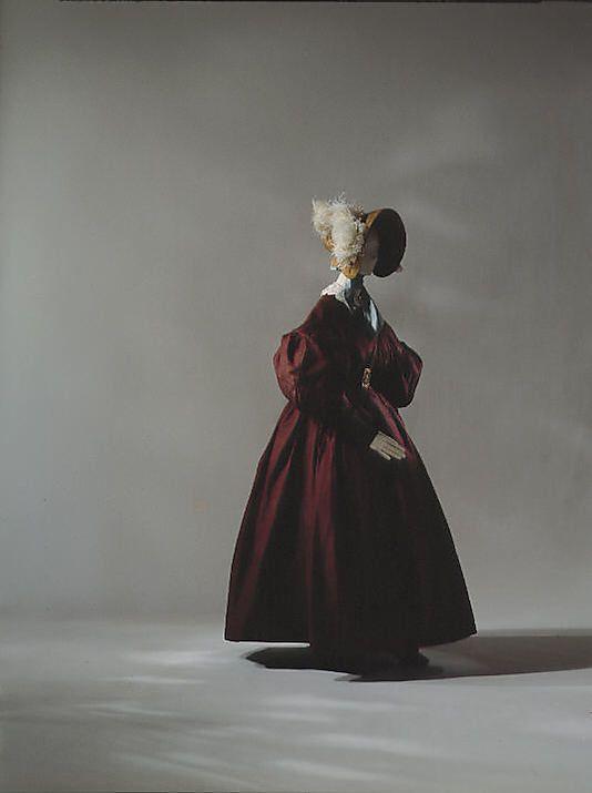 ca. 1835 walking dress, silk