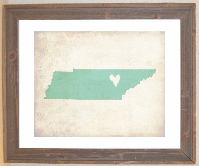 Tennessee Love State Customizable Art Print. $16.00, via Etsy.: Customizable Tennessee, Apartment Bible, Art Prints, A Frame, Anniversary Gift, Sweet Home, Bought, Crafty Ideas