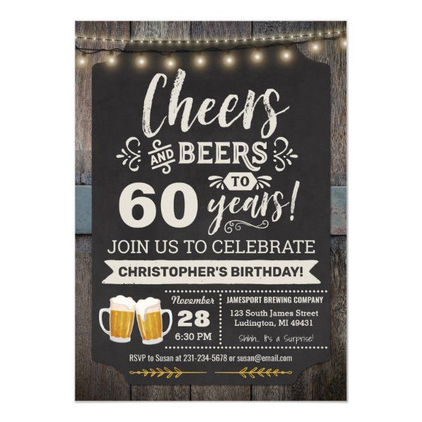 cheers, invite 50th Cheers and Beers invitation beer 40th 70th 21st adult birthday Surprise Birthday Party Invitation 30th 60th