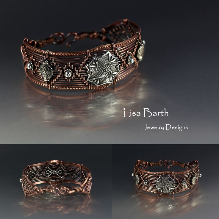 Here is a mix of copper and sterling. I made the centerpiece with fine silver metal clay and wired it in place. I am working on making the backs of these bracelets look better than before.