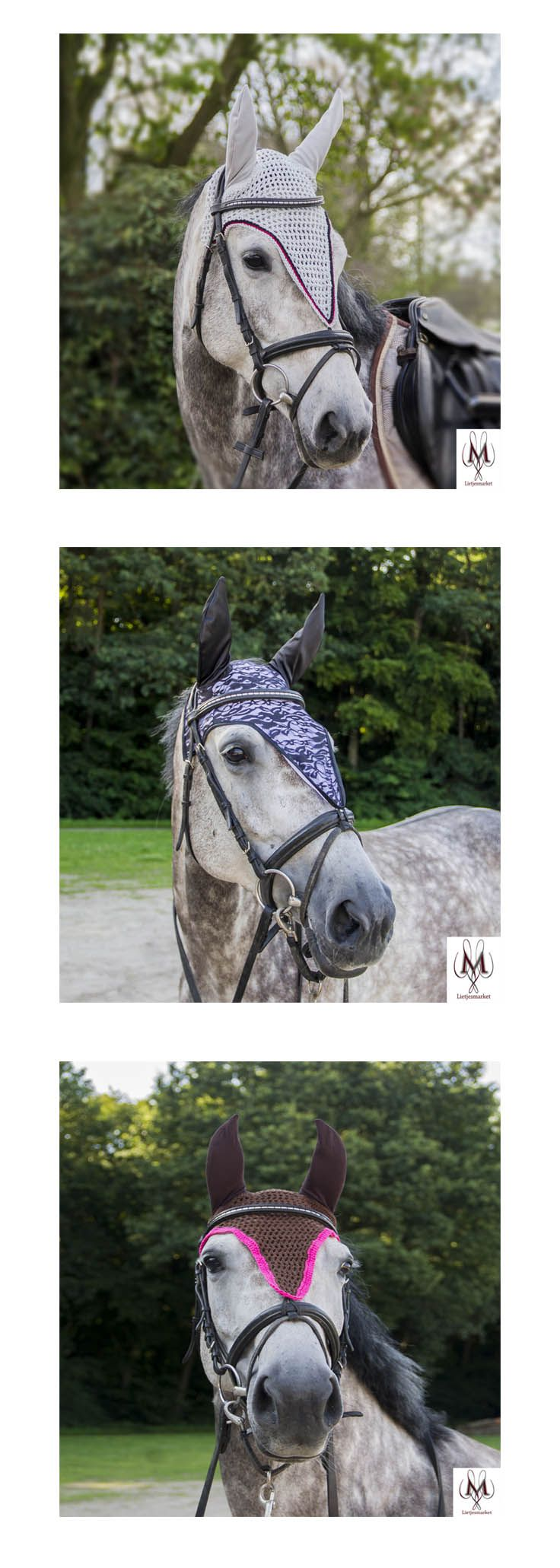 Fly bonnets, fly bonnet horse, long fly veil, long model ear bonnet, dressage horse, horse fashion, horse photografy, beautifull horses, equine fashion, showjumping
