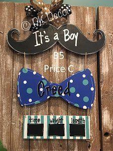 B5 - Mustache Bow Tie Door Hanger - Baby Boy Hospital Door Hanger - Birth Announcement Sign