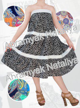 48$ Сарафан свободного кроя для полных девушек с открытыми плечами и цветочным принтом фото с раздвинутой юбкой Артикул 946, р50-64