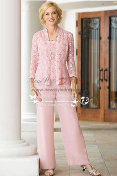 3PC Pink lace Trousers set Mother of the bride pant suits dresses for wedding nmo-254