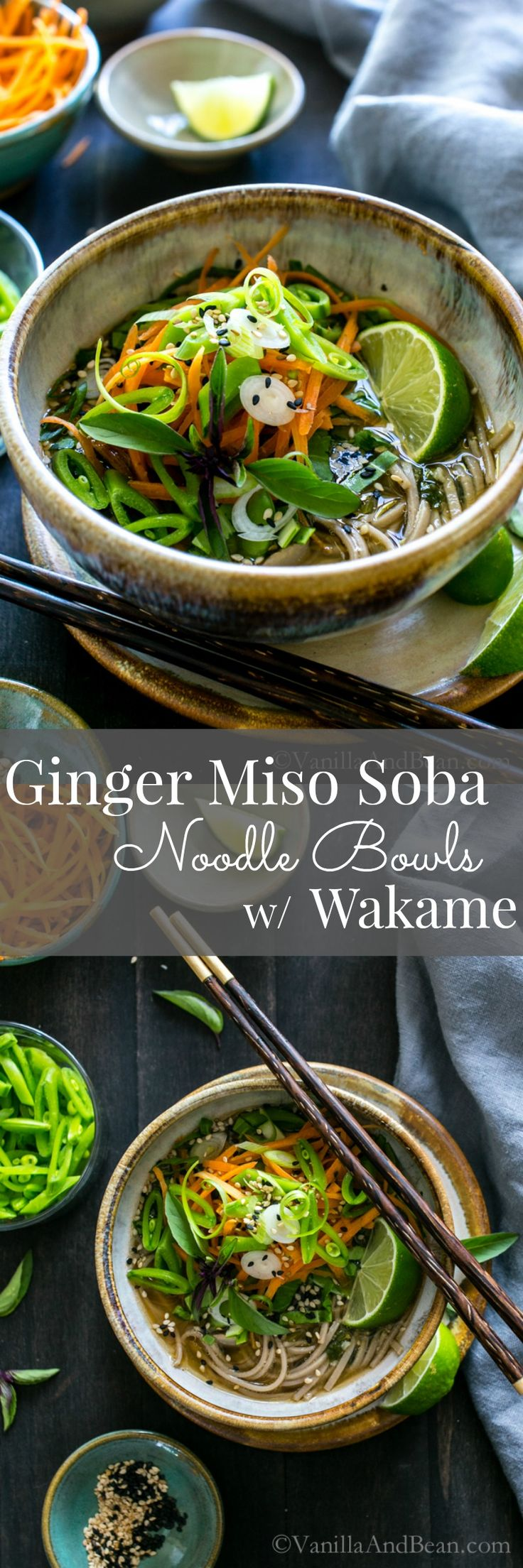 Warming and cozy, Ginger Miso Soba Noodle Bowls with Wakame are so comforting and can be adapted by changing the veggies with the seasons. Vegan + GF