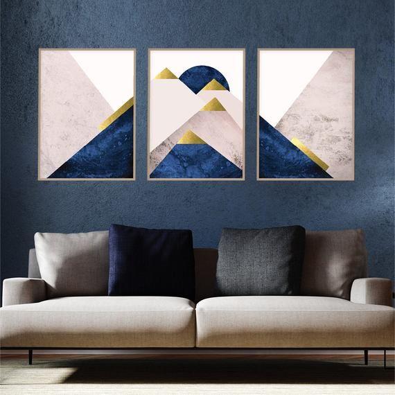 Blush Pink Navy Gold Printable Art Set Of 3 Downloadable Mountain Prints Printable Mountains Triptych Matching Trio Wall Art Decor Trending Gold Printable Art Printable Art Set Printable Art
