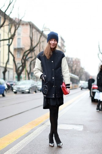 love the long length varsity jacket!  Aurora Sansone at MFW