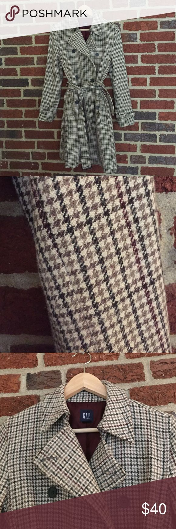 Classic Houndstooth Gap Coat Awesome houndstooth coat! In great condition! No pilling or stains. Looks brand new. Colors are cream, sage, olive green and brown. Buttons are grey. GAP Jackets & Coats