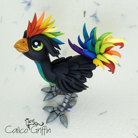 Rainbow Rooster - clay sculpture - Premo Sculpey polymer figurine sculpture bird chocobo red yellow green blue black chicken