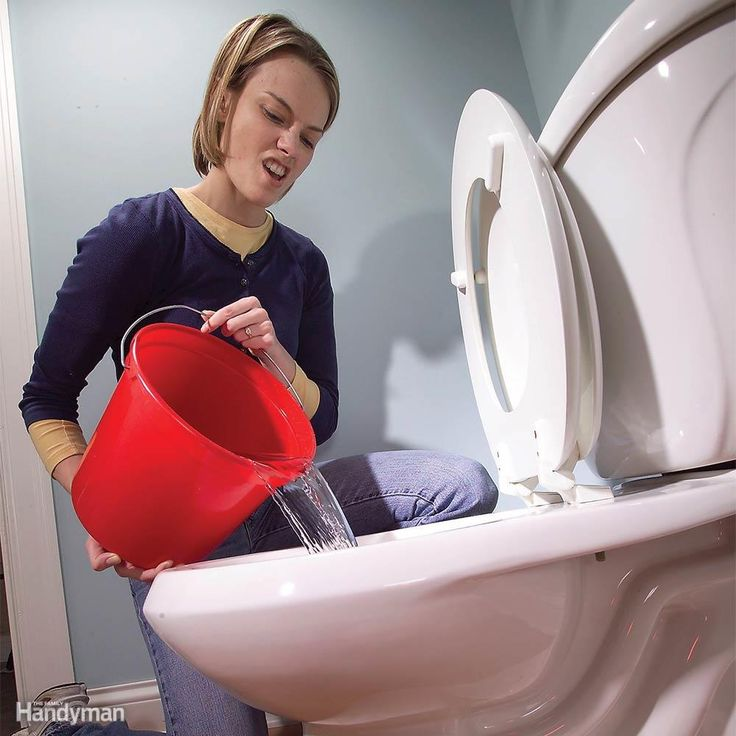 Even if a power outage stops your well pump or the city water supply, you can still flush the toilet. Dump a couple gallons into the bowl or fill the toilet tank. This works just as well as the usual flush, but won't refill the bowl. Still clogged? Here's our guide for how to unclog a toilet.