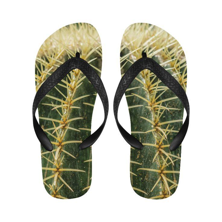 Photography Art - Cactus green yellow Flip Flops for Men/Women