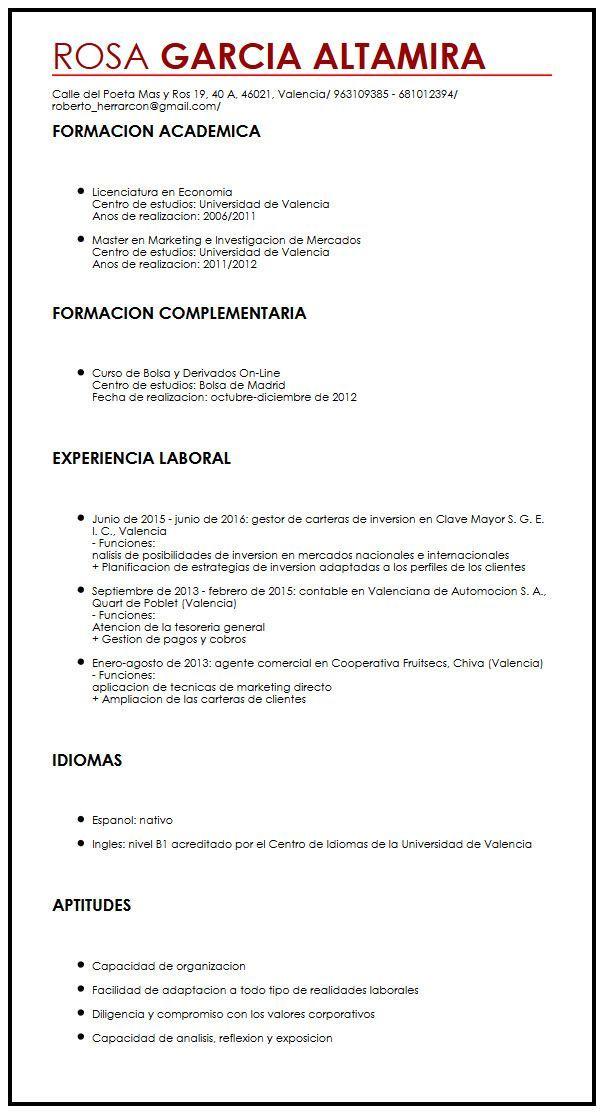 Modelo De Curriculum Vitae Uba