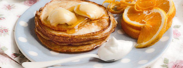 Τηγανίτες με πορτοκάλι, γιαούρτι και μέλι