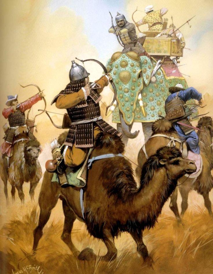 Mongol Camel warriors battle an Indian war elephant