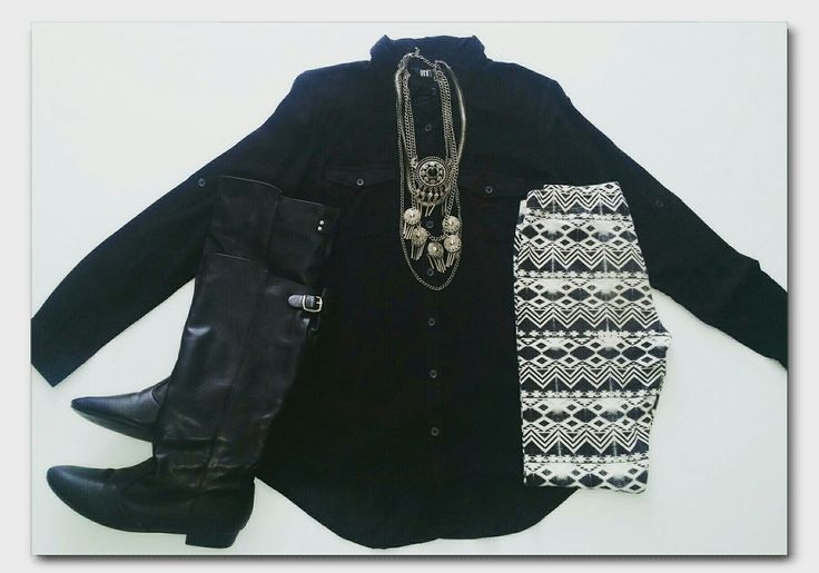 Black shirt, aztec leggings, black boots, statement necklace   #ootd #fashion #whatiwore #fashionidea #winterfashion #workwear #officewear #monochrome #dailyoutfitinspiration