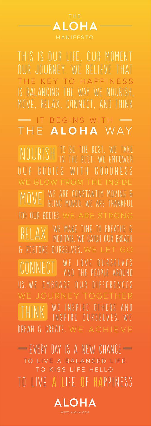 The ALOHA Manifesto Starts With A Healthy Balance Of How We Nourish, Move,  Relax · Hawaii UsaHawaii LifeAloha HawaiiAloha QuotesHawaii ...