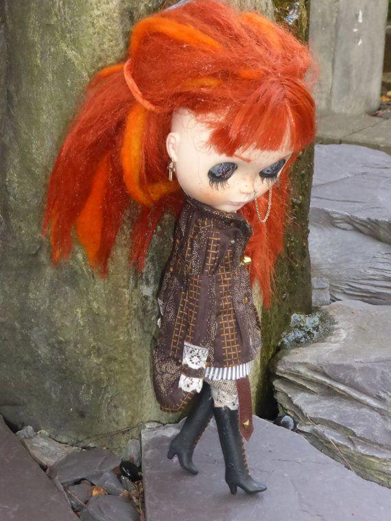 Blythe OOAK Steampunk Coat Pants & Blouse by RosieLovesParis