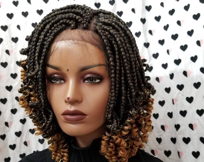 Handmade Box Braid Braided Lace Front Wig With Curly Ends Color 1b Black Braids With Curls Twist Braid Hairstyles Short Box Braids