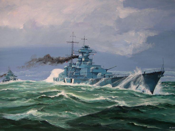 Acorazado Bismarck 1940 seguido del crucero Prinz Eugen 1940, Alemania