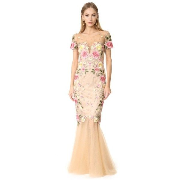 Marchesa Notte Floral Embroidery Gown (1 733 AUD) ❤ liked on Polyvore featuring dresses, gowns, nude, sequin dress, metallic evening dress, multi color sequin dress, metallic gown and sparkly dresses