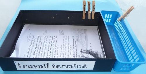 Fiches terminées: quand l'élève pose sa feuille dans la boite, il place sa pince dans une boite sur le côté.