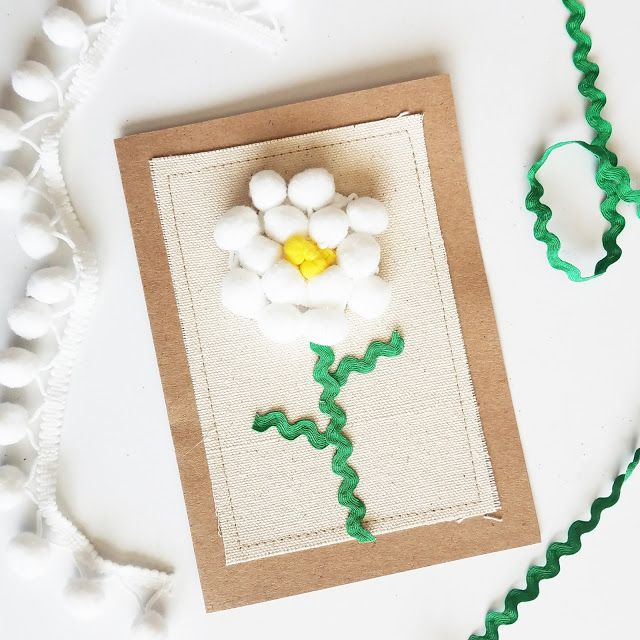 scraps of reflection: Flowers made from Pompom Trims on Card and Totes