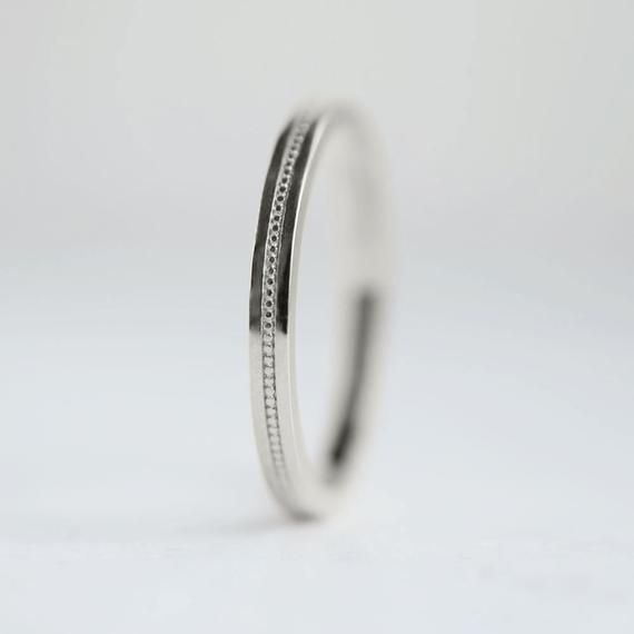 This Classic 2mm Wide Solid Gold Or Platinum Band Features A Row Of Tiny Milgrain Engraved Int Wedding Rings For Women Platinum Wedding Rings White Gold Rings