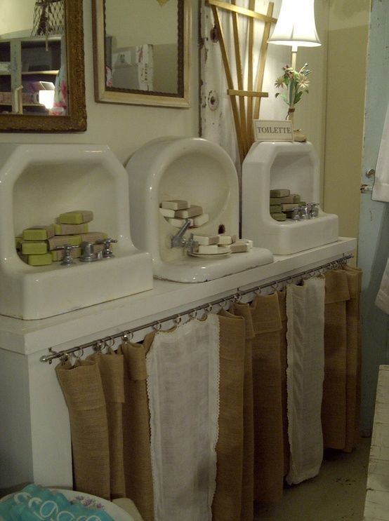 love the burlap & lace curtains....maybe under the counter top in my craft space.
