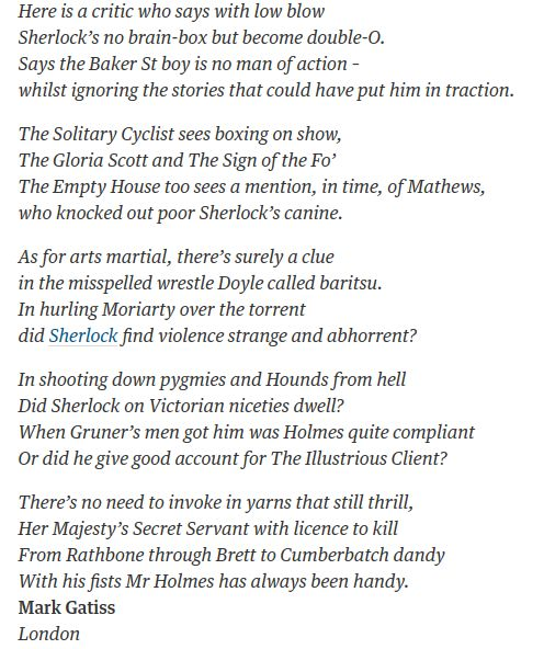 Poem by Mark Gatiss deliberate reference to a poem rebuttal that Arthur Conan Doyle wrote, in response to a poem criticizing his work