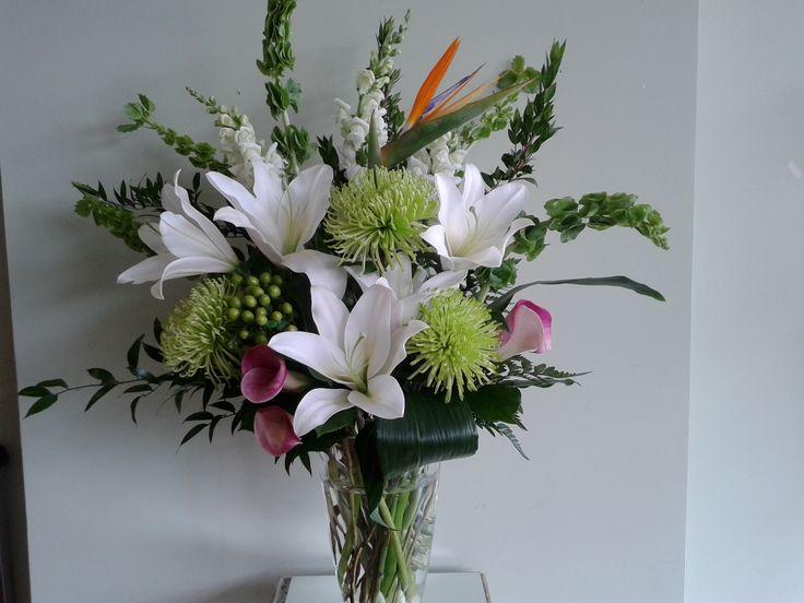 Vase arrangement - White, green, splash of color