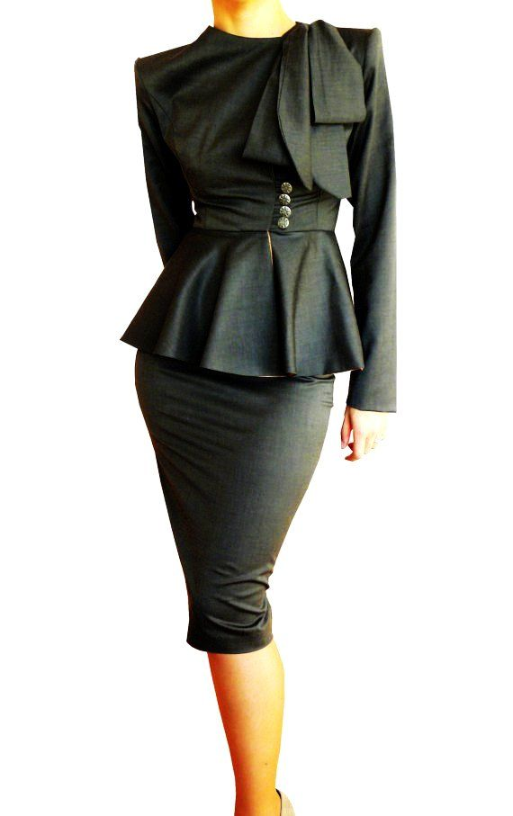 black ruffle business suits for women - black business suits for women-f15479.jpg (570×907)