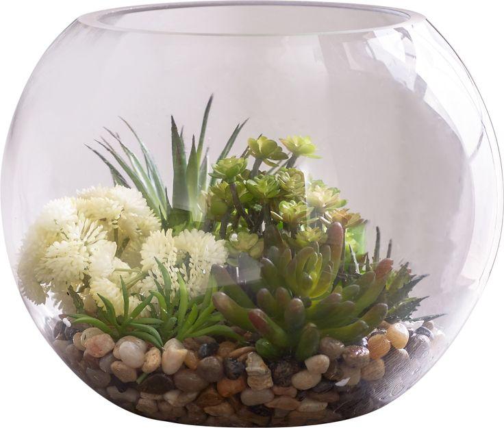 Faux Succulent Glass Container