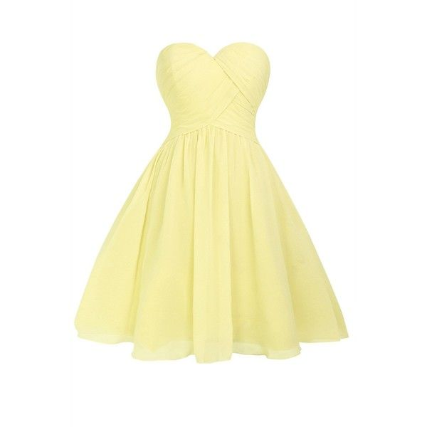 Queenmore Women s Chiffon Sweetheart Ruched Short Prom Party... ($100) ❤ liked on Polyvore featuring dresses, party dresses, ruched dress, beige dress, chiffon bridesmaid dresses and sweetheart prom dresses