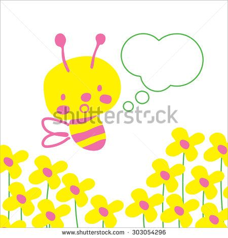 Cute pink and yellow bee with speech bubble for any kind of text and flowers in the background. All isolated on white.