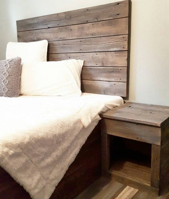 Handcrafted From A Mix Of Woods The Headboard Is Reclaimed Wood That Has A Natural Worn Weath Reclaimed Wood Bed Frame Reclaimed Wood Headboard Wood Headboard