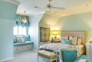 Transitional Kids Bedroom with Sterling Industries - 1 Light  Mini Chandelier, flush light, Carpet, Bunk beds, Window seat