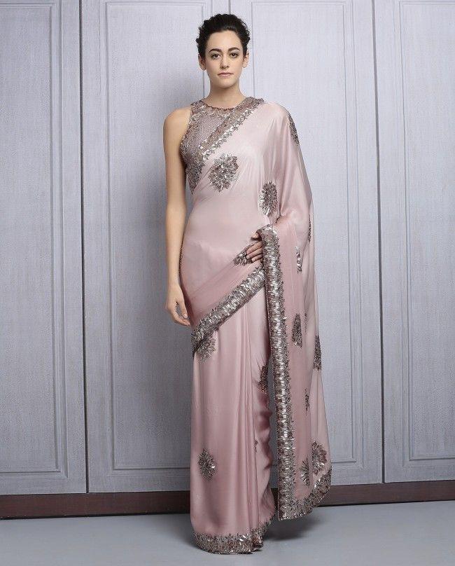 Fawn Satin Sequined Party Wear Saree By Manish Malhotra @looksgud #ManishMalhotra, #Designer, #Pink, #PartyWear