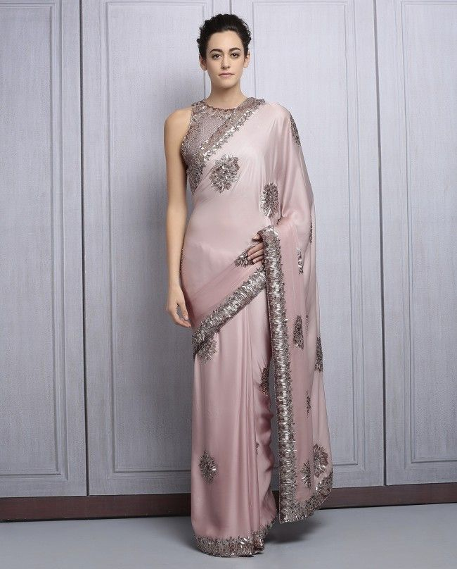 Fawn Satin Sequined Party Wear Saree By Manish Malhotra @looksgud…