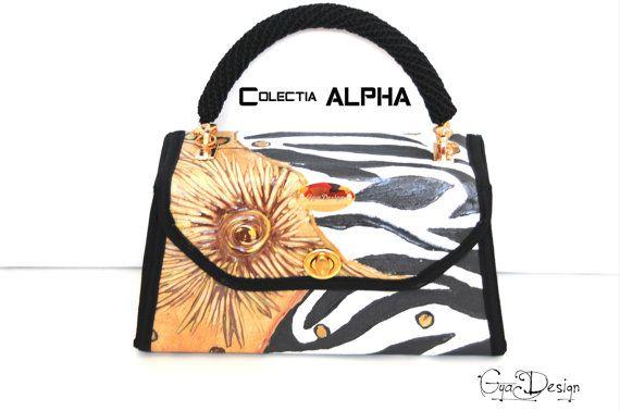 Hand painted purse handbag Animal print handbag purse