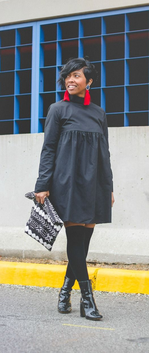 Sweenee Style, Indy Blogger, Winter Outfit Idea, Black girls who blog, Black dress,  shirt dress, Otk Socks, Knee socks, Fall 2017, fall outfit ideas, OUTFIT, OUTFIT IDEAS, OUTFIT POST, Winter 2018 Winter Outfit Idea, short hairstyle, ch0ked earrings, all black outfit