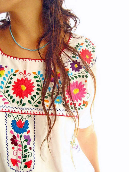 Mexican embroidered bright flowers
