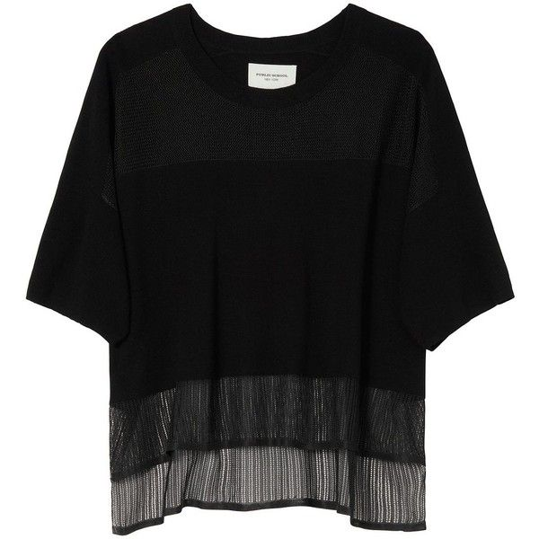 Public School Pointelle Tee found on Polyvore featuring tops, t-shirts, black, short sleeve tee, drape top, drapey top, drapey tee and short sleeve tops